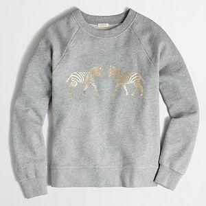 J. Crew   Metallic Zebra Long Sleeve Sweatshirt M